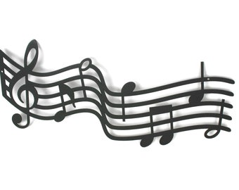 """Metal Music Staff Wall Art, 16 to 38"""" wide, music decor gift, music room art sign, musical art, gift for musician, back to school"""