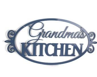 "Floral Pattern Grandma's Kitchen Metal Sign 20"" wide Powder Coated Steel"