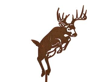 Metal Deer Stake, Deer Hunter Stake, Deer hunter gift, Jumping, Leaping Deer, Outdoor Deer Decor, Rustic Deer, Jumping deer, Deer sign