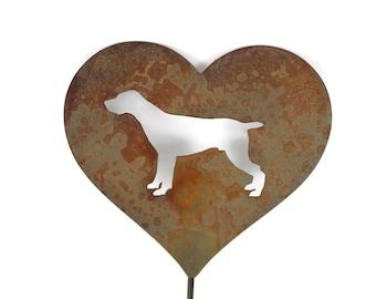 German Shorthair Hunting Pointing Dog Heart Garden Stake, pet memorial, dog stake, rainbow bridge