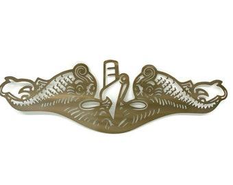 US Navy Submarine Dolphins Metal Art, Gold Dolphins, Navy Officer Dolphins, Navy Dolphinfish, Navy Sailor Collector Item, Submarine Pin