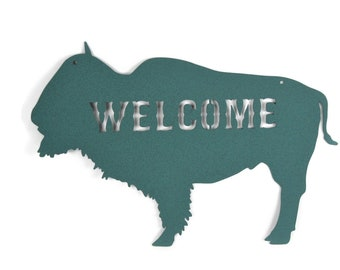 "Metal Buffalo Welcome Sign, Western Buffalo Bison Decor, Cabin Welcome 16"" wide"