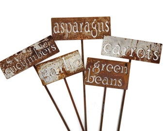 Classic Metal Garden Markers, A-M, herb marker, garden marker, vegetable marker, garden label, markers for plants, plant marker, herb signs