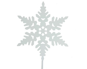 Metal Powder Coated Steel Snowflake Garden Stake 21 Inches Tall