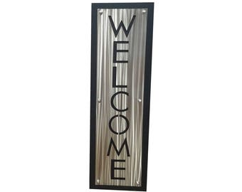 Upright Layered Stainless WELCOME Sign, entryway welcome, indoor outdoor, welcome to our home, outdoor welcome sign, metal welcome sign