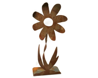 "Giant Twisted Metal Flower Stake, 24-36"" tall, extra large rustic flower, outdoor flower, flower yard stake, flower garden stake, garden art"