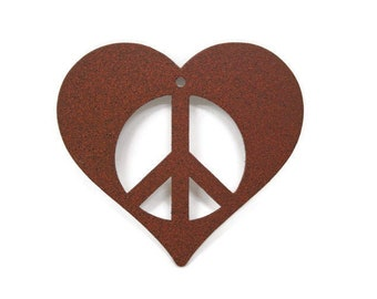 Metal Heart Peace Sign Ornament