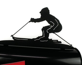 Skiing Metal Mailbox Topper, Metal Skier Mailbox Top, Snow Ski Mailbox Top, Ski Lodge, Winter vacation home, winter sports mailbox