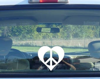 peace heart decal, peace love sticker, peace car decal, heart car decal, peaceful heart, white heart, white peace sign, peace heart vinyl