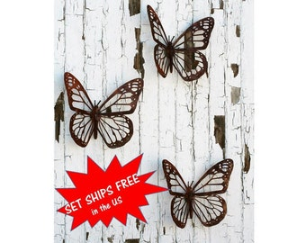 Giant Monarch Butterfly Wall Art, Set of 3 butterflies, FREE SHIPPING! rustic butterfly, monarch wall art, butterfly decor, butterfly garden