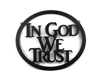 "In God We Trust metal oval sign, United States official national motto, 12x15"" sign -- Great for schools!"
