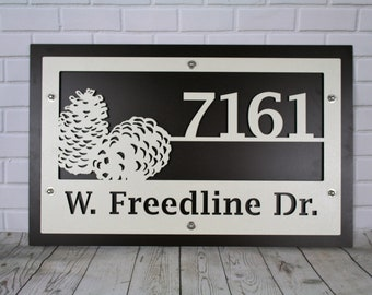 Woodland Name and Address Sign, Custom Color Address Sign, Metal Custom Sign, Color Cabin Sign, Color Woodland Sign, Tree Deer Pinecone Lake