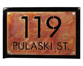 Personalized Address, Street Name Sign, House and Street Name Sign, Black Custom House Number, Small Custom Address Sign, House Address