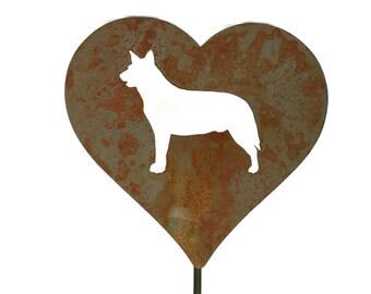 Australian Shepherd Dog Heart Garden Stake, pet memorial, pet dog stake, garden gift idea