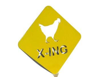 Metal Chicken Crossing Sign, Chicken Coop Sign, rustic chicken sign, chicken x-ing, outdoor chicken sign, chicken coop decor, rooster sign