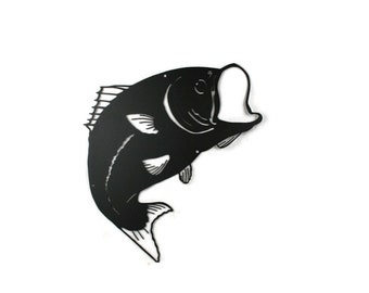 "Metal Large Mouth Bass Fish Wall Decor Fishing Sign, Metal Fisherman Sign 18"" tall"