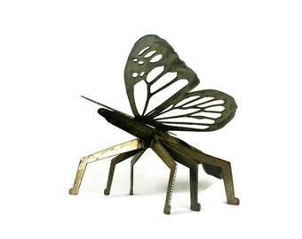 Giant 3D Metal Butterfly, butterfly yard art, Industrial Garden Art, Re-purposed Metal Art, outdoor butterfly art, oversized butterfly