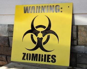 Zombie Apocalypse Warning Bio-Warfare Yellow Metal Sign, The Walking Dead fan watch party sign