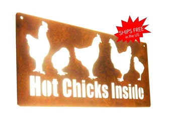 Customized Rustic Metal Chicken Coop Sign -- Your choice of personalized text!