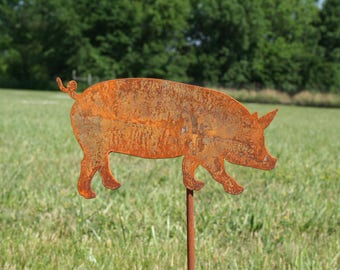 Metal Pig Garden Stake, Pig Garden Art, Hog Farm, Pig Yard Stake, Swine Garden Stake, pig collector, garden marker, farmhouse outdoor, piggy