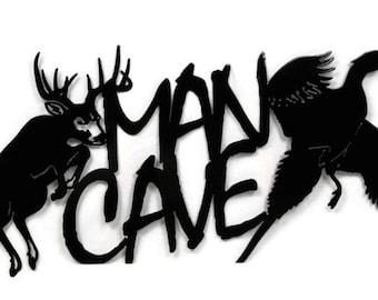 MAN CAVE Metal Sign, Deer and Pheasant Hunter's Man Cave Sign, hunter man cave, hunting man cave, deer sign, pheasant sign, outdoorsman sign