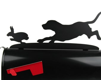 Metal Beagle Hunting Dog Chasing Rabbit Mailbox Topper