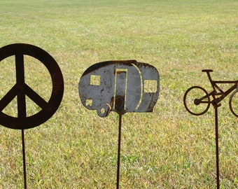 Garden stake set -- Camper, Bicycle, Peace Sign Stakes, Camping Gift Set, Happy Campers, RV mini teardrop travel trailer, glamping