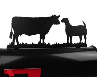 Cow and Goat Metal Mailbox Topper, Farm Mailbox Top, Animal Style Mailbox, Ranch Mailbox Top, Livestock Mailbox Topper