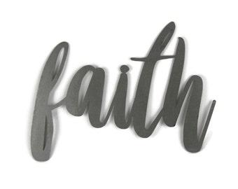 faith script, faith metal sign, metal word art, steel word art, steel script cursive font, DIY faith sign, Bible craft project, have faith