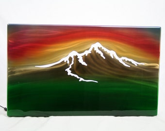 Mountain Sunset Painting, Aluminum Wall Art, gift for her, mountain painting, modern wall art, office lobby wall decor, air brush painting