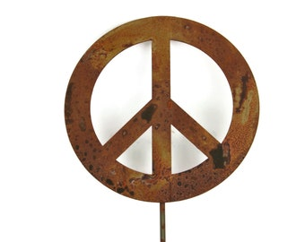 Metal Peace Sign Garden Stake, yard sign, peace sign, peace stake, peace garden sign, garden peace art, peace garden art, peace sign decor