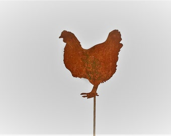 Rusty Chicken Garden Stake, Metal Chicken Sign, farmhouse chicken decor
