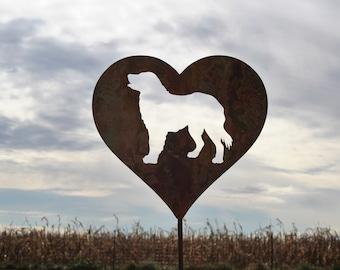 Dog Heart Garden Stake, pet memorial, border collie labrador golden retriever, dog stake, rainbow bridge