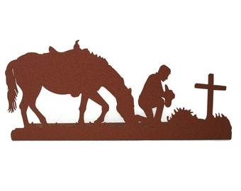 Metal Praying Cowboy, Rustic Cowboy Prayer, Cowboy Metal Art, western decor, Horse and Rider, Praying cowboy, Cowboy prayer, memorial sign