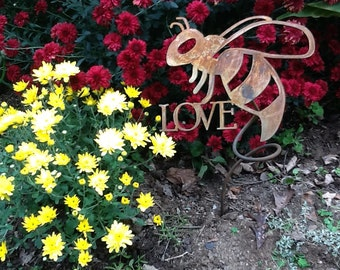 Metal Spiral Bee You Garden Stake, bee yard stake, buzzing flying bee stake, be you, be love, be still