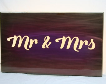 "Mr & Mrs backlit handpainted wall light sign -- 30x18"" with LED lighting"