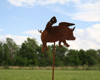 Metal Flying Pig Garden Stake, Pig Garden Art, When Pigs Fly, Flying Pig Landscape Stake, Rusty Flying Pig