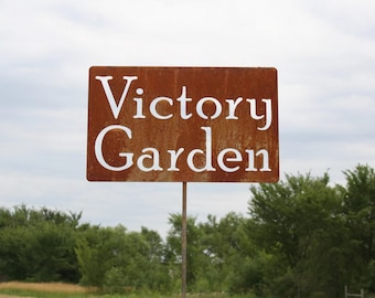 Victory Garden Metal Garden Stake Sign, Inspirational Garden Sign, War Garden, Food Garden, fruits and vegetables, self reliant gardening