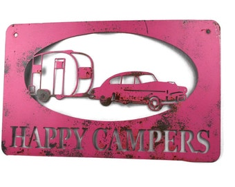 Metal Happy Campers RV Campground Vintage Retro Camper Sign - 22 Inches Wide