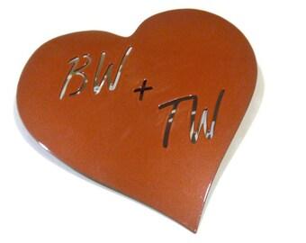 Carved Initials Sweetheart Keepsake Metal Heart, Tree Trunk Initials Metal Sign, Metal Heart Sign, Sweetheart Valentine Gift
