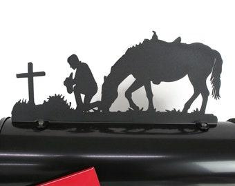 Praying Cowboy Mailbox Topper, Metal Cowboy Mailbox Top, cowboy and horse, cowboy prayer, cowboy memorial, western mailbox topper