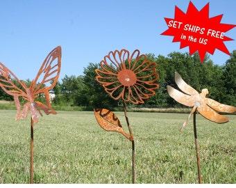 Garden stake set, Gardener gift set, Metal Flower, Butterfly stake, Dragonfly stake, butterfly garden, Landscape Set, Mixed Garden Stakes