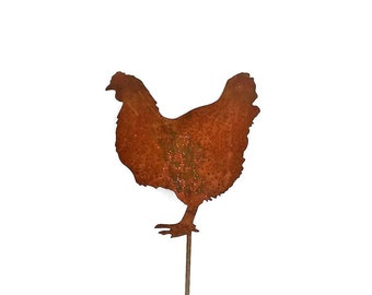 Rusty Chicken Garden Stake, Metal Chicken Sign, farmhouse chicken decor