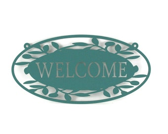 """Floral Pattern Welcome Sign, welcome sign, entryway sign, outdoor welcome sign, 16"""" wide welcome, metal welcome sign, your choice of color"""