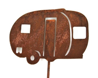 """Metal Vintage RV Retro Mini Airstream Style Camper Garden Stake Sign, happy campers, camping sign, teardrop camper 22 to 24"""" tall"""