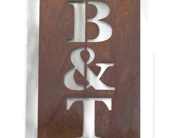 """Classic Style Vertical Metal House Number Address Name Sign, 8x12"""" up to 10x32"""" with many color choices!"""