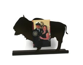 "Magnetic Steel Standing Buffalo Bison Sign -- Dark Brown 12"" wide"