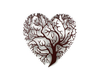 "Heart shaped tree of life sign, metal valentine gift idea, metal love heart sign, family tree decor -- 15.5"" tall powder coated"
