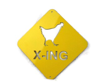 Metal Chicken Crossing Sign, Chicken Coop Sign, rustic chicken sign, chicken x-ing, outdoor chicken sign, chicken coop decor, rooster sign