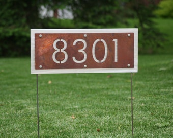 Two-Sided Rustic Address Number Yard Sign  -- House number can be read from either side! Metal Street Address Sign, House Number Sign